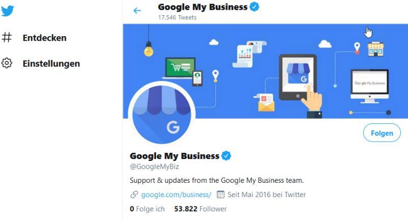 Google My Business auf Twitter