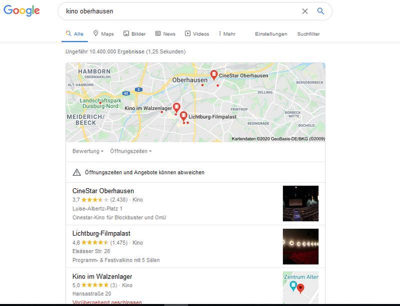Im oberen Teil sehen Sie die Ergebnisse auf Google Maps – Snack Pack.